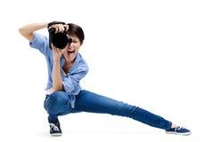 Girl-photographer takes photos Royalty Free Stock Image