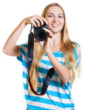 Girl photographer takes photos Royalty Free Stock Images