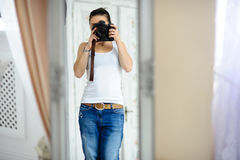 The girl the photographer at the time of shooting. Stock Photo