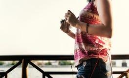 Girl Photographer Traveler Wanderlust Concept Stock Photos