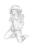 A  girl photographer. A young happy girl on her knees takes pictures -  A drawing  hand made with pencil Royalty Free Stock Image
