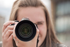 The girl photographes Stock Photography