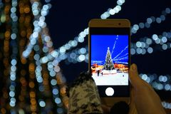A girl photographing a Christmas tree on a smartphone camera, City, Holidays New Year stock photos