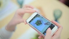Girl photographing the food on smartphone stock video