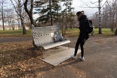 Girl photographing memorial bench dedicated to all the deceased rock musicians in the central park of Krasnoyarsk city in the. Autumn. Krasnoyarsk Territory stock photo