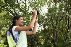 Girl Photographing Nature Stock Photo