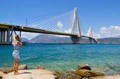 Rio–Antirrio Bridge, Greece. stock photography