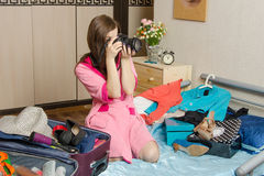 Girl photographs, going on vacation Royalty Free Stock Photography