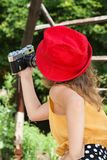 The girl photographs herself Royalty Free Stock Images