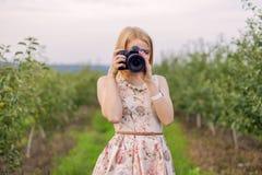 Girl photographs Stock Photo