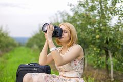 Girl photographs Stock Images