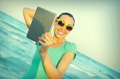 Girl photographs selfie Royalty Free Stock Image