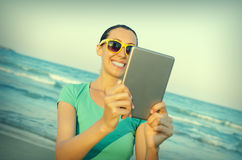 Girl photographs selfie Royalty Free Stock Images