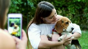 Girl photography woman on mobile phone who hugs and kisses a beagle dog. Girl photography woman on mobile phone who hugs and kisses a cute beagle dog stock video footage