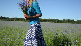 Girl pick flowers field Royalty Free Stock Images
