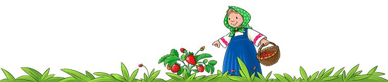 Girl picking berries Royalty Free Stock Image
