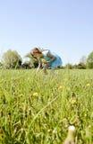 Girl picking dandelions Stock Images