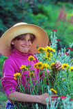Young Girl In A Straw Hat Picking Garden Flowers Royalty Free Stock Photos