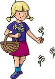 Girl picking flowers Royalty Free Stock Images