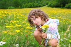 Girl picking flowers in yellow spring meadow. Beautiful scenic in Pyrenees spain Royalty Free Stock Photos