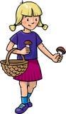 Girl picking mushrooms Royalty Free Stock Photos