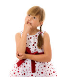 Girl picking nose. Seven years girl picking nose isolated Royalty Free Stock Photography