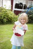 Girl picking red currants royalty free stock photography