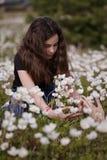 Girl picking white poppies Royalty Free Stock Photos