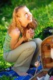 Girl on picnic Stock Photos