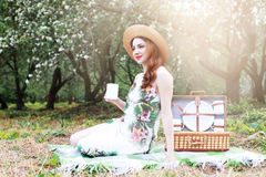 Girl on a picnic in the apple orchard with basket of products Stock Photo