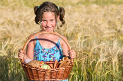 Girl with picnic basket Royalty Free Stock Photos