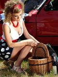 Girl on the picnic with basket and wine Stock Image