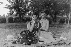 Girl on a picnic and sit gossiping. retro style Royalty Free Stock Photos