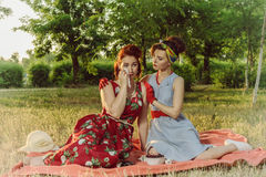 Girl on a picnic and sit gossiping. retro style Royalty Free Stock Images