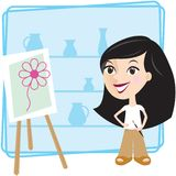 Girl with picture. Illustration of woman painting a picture Royalty Free Stock Image