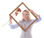 Girl with picture frame Stock Image