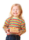 Girl with pie Stock Photography
