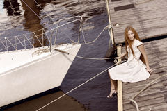 Girl on the pier Royalty Free Stock Images