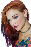 Girl with piercings. Attractive modern girl with piercings on her face and ear royalty free stock image
