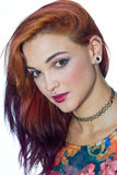 Girl with piercings. Attractive modern girl with piercings on her face and ear royalty free stock photo