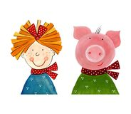 Girl and Pig. Decorative elements. Artistic work. Watercolours on paper Royalty Free Stock Photos