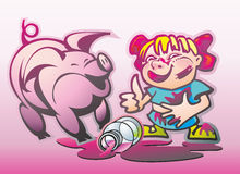Girl and a pig jam. Smeared with jam girl in Banten and a pig in a puddle from a broken banks Royalty Free Stock Image