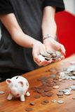 Girl with piggy bank Stock Photo