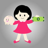 Girl with piggy bank and money Stock Images