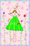 Girl with pigtail abstract love. Illustration of a girl with pigtail in green dress showing her arms in heart shape over her head Royalty Free Stock Images