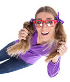 Girl with pigtails Royalty Free Stock Photo