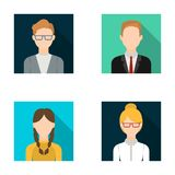 Girl with pigtails, businessman, businesswoman, boy wearing glasses.Avatar set collection icons in flat style vector Royalty Free Stock Photography