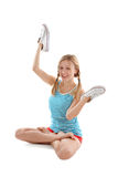 Girl with pigtails doing yoga Royalty Free Stock Photos