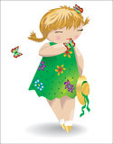 A girl with pigtails in a green dress with butterflies on her hair and on her palm, a hat in her hand. A butterfly flies nearby Royalty Free Stock Photography