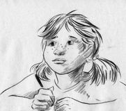 Girl with pigtails sketch. Hand drawn pencil sketch of a little girl with pigtails and freckles on her nose. She is holding pencil or pen and thinking about what Stock Photography